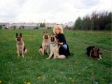Megy on walk (from left her mother Dina, Megy, sister Jenny and our dog friend)
